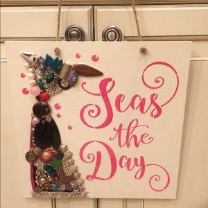 Mermaid Seas the Day jewelry art sign wood wall